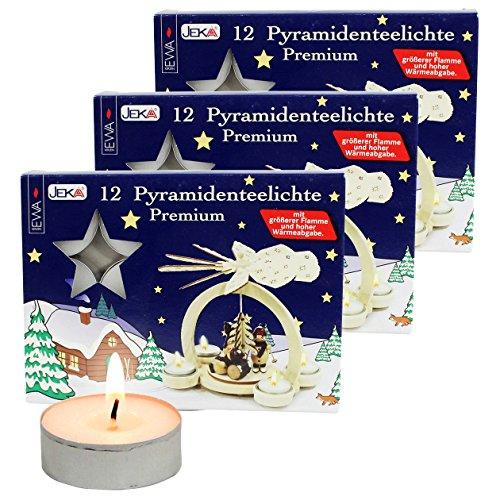36er Set Pyramiden-Teelichte, speziell für Teelichtpyramiden entwickelt, inkl. Dekohelden Feuerzeug dazu.