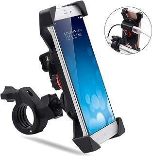 f48ffe2e76b TR Turn Raise Giratorio Montaje de Motocicleta Moto Soporte para Teléfono  Celular con Impermeable 2.1A
