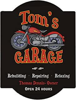 GiftsForYouNow Personalized Motorcycle Garage Sign