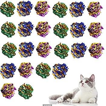 24PCS Jouet Chat , Chat Balles Balles Colorees en Papier pour Chaton Jouer, Colorées Chat interactif Jouet, Coloré Chat Balle Jouet, Balle pour Chat Chaton Chien