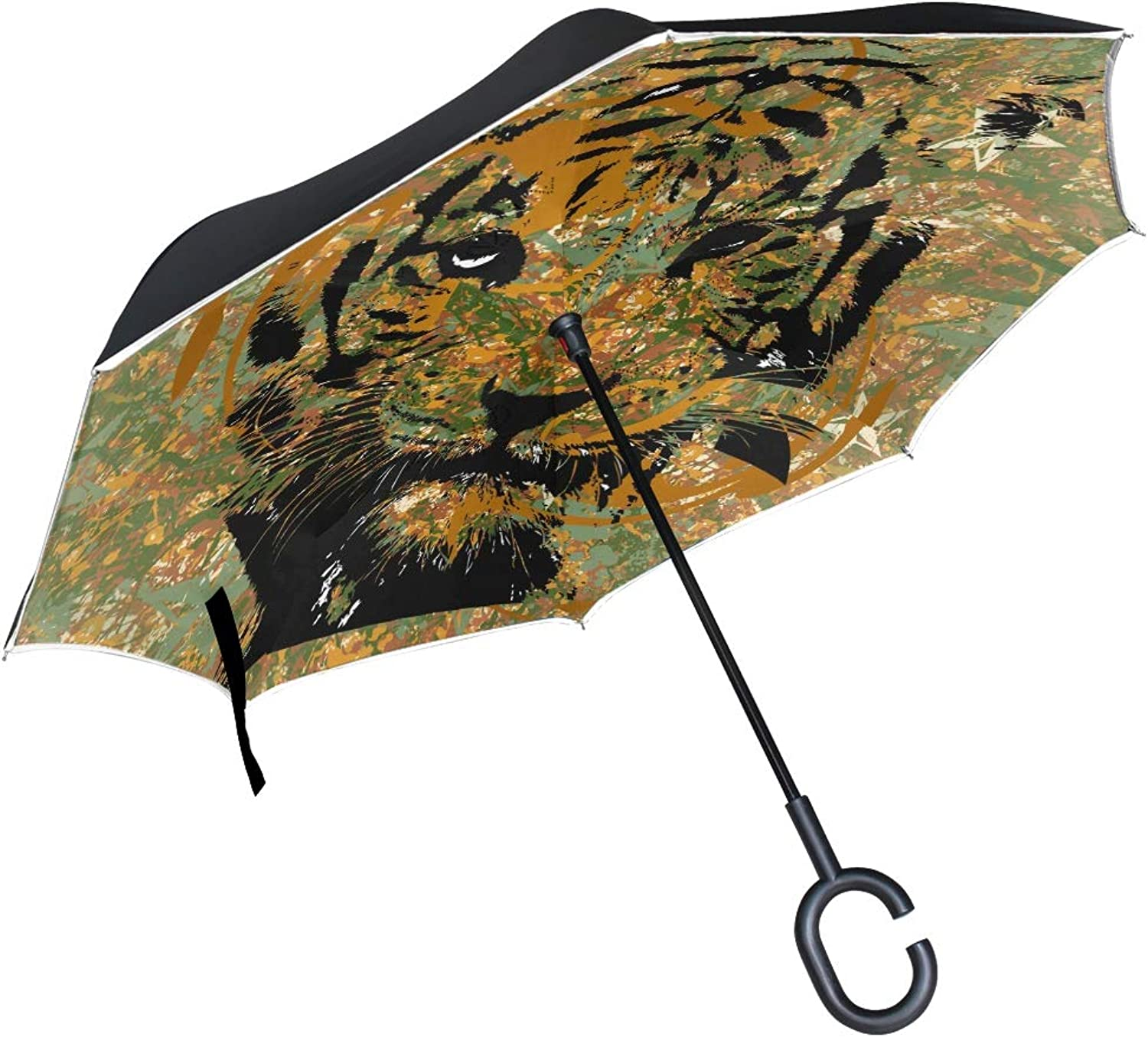 7f92c19b887e bluee Wolf Art Ingreened Umbrella Windproof Double Layer Car Reverse ...