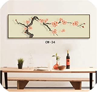 Plum Blossom Orchid Bamboo Chrysanthemum Wall Picture Modern Chinese Ink Painting Style Canvas Print Painting Wall Art Poster,150x50cm No Frame,E Style
