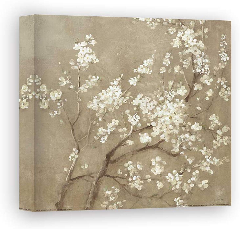 Kunstdruck auf Leinwand Wall Art Nai Danhui Weiß Cherry Blossoms I Neutral Crop
