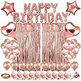 Rose Gold Birthday Party Decoration, Happy Birthday Banner,Rose Gold Fringe Curtain,Heart Star Foil Balloons, Rose Gold Latex Confetti Balloons for Women Girl Birthday Party(Any Age)