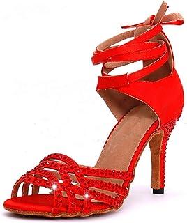 Dames Latin Dansschoenen met Rode Satijnen Rhinestone Stijl Hoge Hakken Salsa Modern/Jazz/Samba/Tango Dansschoenen Hak 8.5 cm