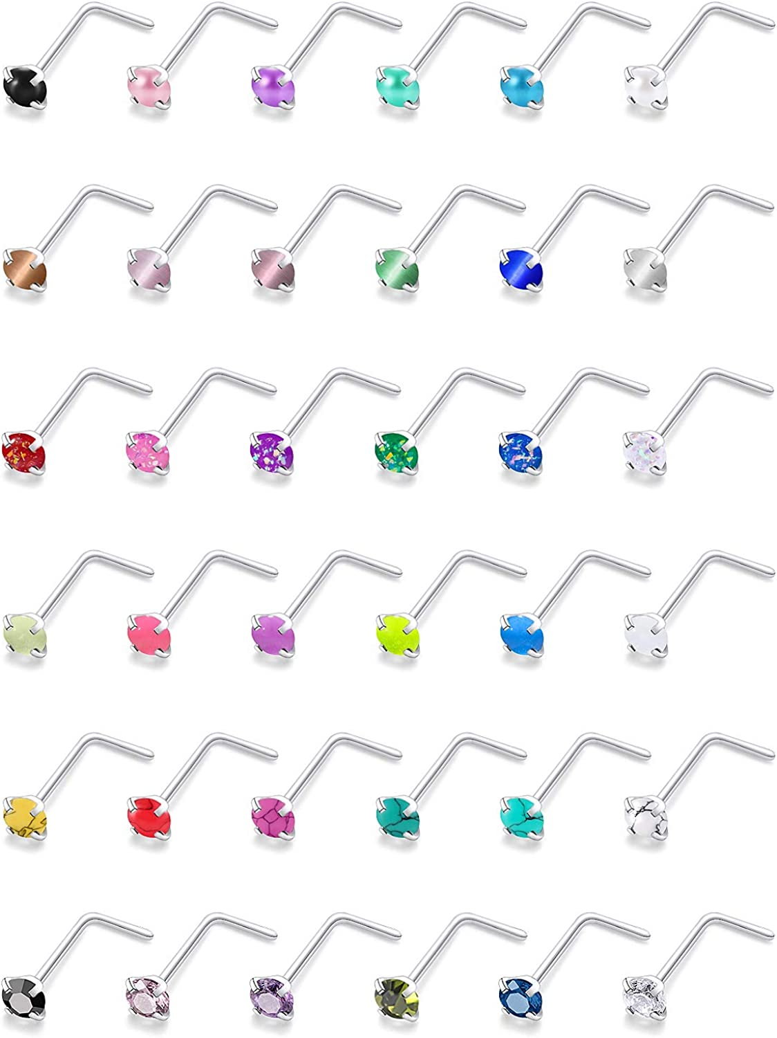Cisyozi 36 Pcs 18G Nose Steel Attention brand Studs Nostril Rings Washington Mall Surgical
