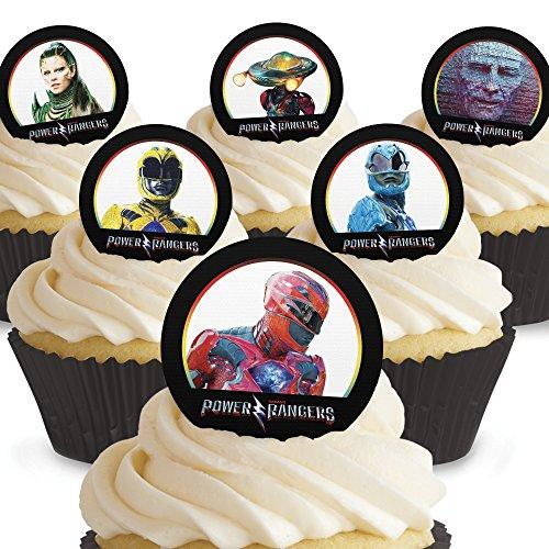 Toppershack 12 x decoración para pasteles comestibles PRECORTADAS de Power Rangers
