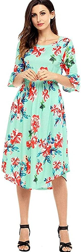 BeneGreat Women's Casual Summer Bell Sleeve Floral Print Midi Dress with Pockets