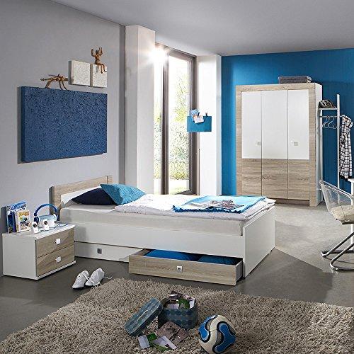 Kinderzimmer Eiche sägerau weiß Kleiderschrank Jugendbett & Nachttisch