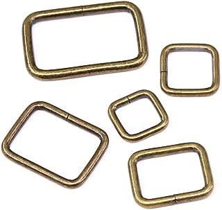 Swpeet 50 Pcs Bronze Assorted Metal Rectangle Ring, Webbing Belts Buckle for for Belt Bags DIY Accessories - 13mm / 15mm / 20mm / 25mm / 35mm