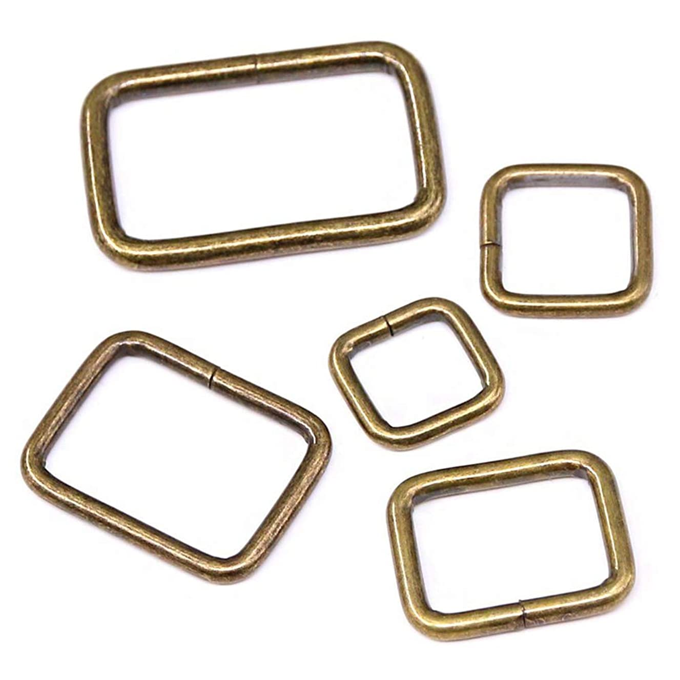 Swpeet 50 Pcs Bronze Assorted Metal Rectangle Ring, Webbing Belts Buckle for for Belt Bags DIY Accessories - 13mm / 15mm / 20mm / 25mm / 35mm