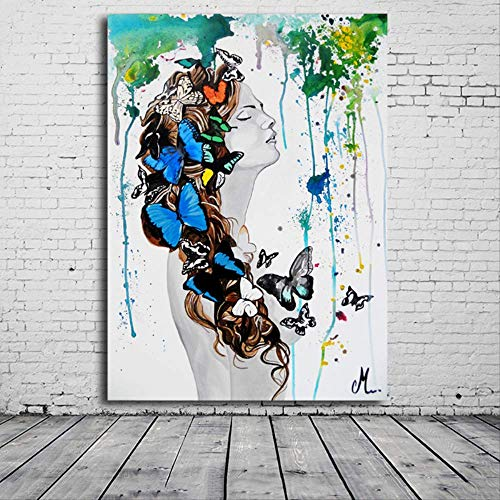LWJZQT Leinwanddrucke Magic Girl Dekorative Bilder Abstrakter Schmetterling Frauen Wandkunst Malerei Ungerahmt Bild Decoraction Infantiles Geschenk 40×60cm