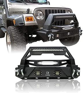 Hunter Black Texture Front Bumper with Long LED Strip&Two Square LED Fog Lights for 87-06 Jeep Wrangler TJ&YJ