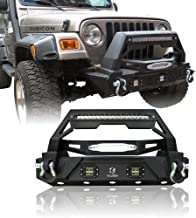 Hunter Black Texture Front Bumper with Long LED Strip&Two Square LED Fog Lights for 87-06 Jeep Wrangler TJ&YJ