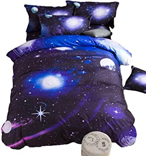 TONGDAUS Galaxy Bedding Girls Twin Size Blue Duvet Cover Set 3 Pieces 1 Galaxy Comforter 2 Pillowcases (Size : 2002304)