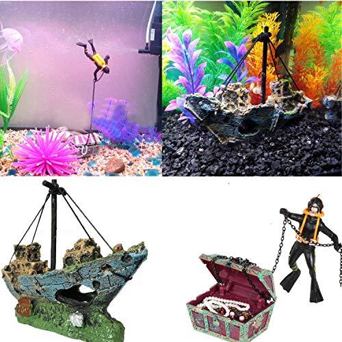 STARPIA akvarium ornament harts fiskebåt + undervattenskatt bröstdykare, piratskepp fiske båt segling båt landskap dekoration, skatthittare jägare för fiskbehållare