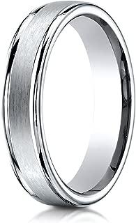 Palladium 4mm Comfort-Fit Satin Polished Round Edge Carved Design Wedding Band Ring for Men & Women