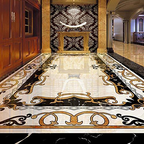 Pegatina de suelo 3D personalizada, pegatinas de baldosas de mármol de estilo europeo, papel tapiz mural autoadhesivo impermeable, decoración de sala de estar-450x300cm