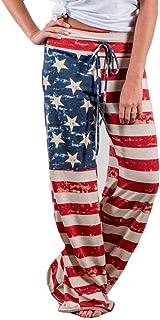 CICIYONER Mujer Pantalones Leggings Bandera Americana Cordón Pierna Ancha