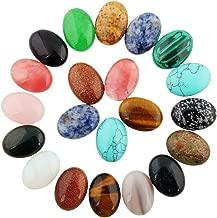 Cmidy 10pcs Cabochon Oval Stone 25x18mm Mixed Healing Crystal Beads CAB Semi-Precious Wholesale Gemstone Beads (Mixed Random No Holes)