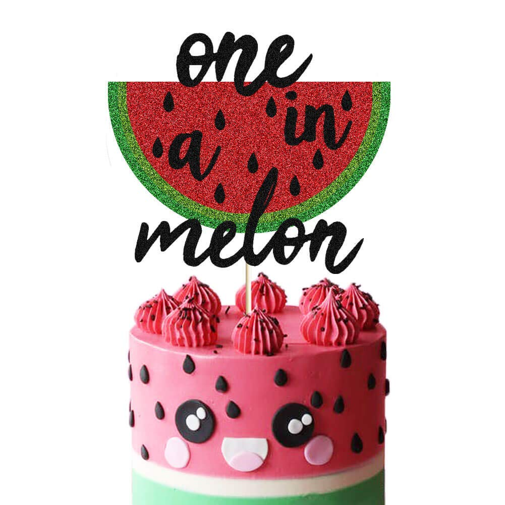 Amazon Com One In A Melon Cake Topper Black Glittery Watermelon 1st Birthday Cake Decor Summer Tropical Fruit Watermelon Themed Baby Boy First Birthday Party Supplies Decorations Toys Games