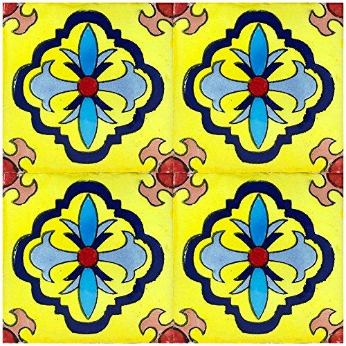 Rustico Tile and Stone TR4GUADALAJARA Guadalajara Azulejos pintados, 4 x 4 pulgadas, amarillo, azul marino, azul claro, Terra Cotta, marrón claro