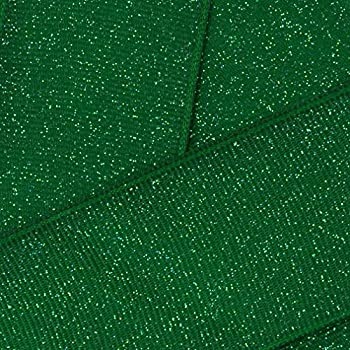 3 Inch Emerald Green Dazzle Glitter Ribbon Grosgrain for Cheer and Dance Team Hair-Bows 5 Yards