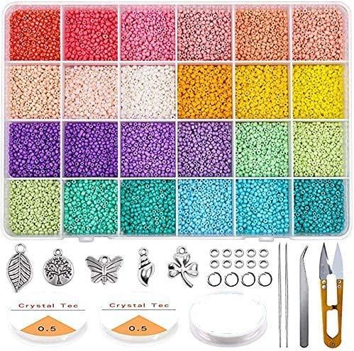 Queta Kit de inicio de cuentas de vidrio 19200 piezas 2 mm 12/0 Bolitas colores para accesorios de joyería de pulsera de bricolaje