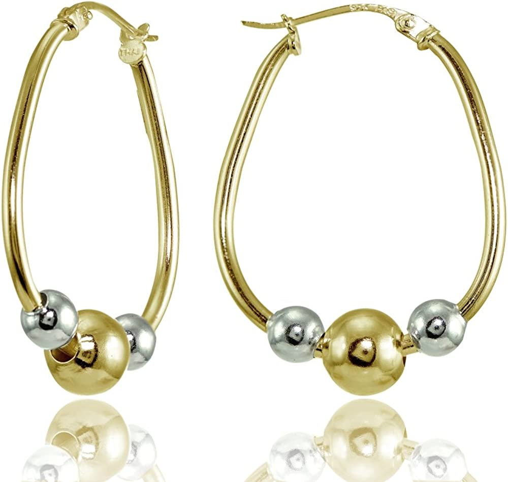 Sterling Silver Polished Special price for a limited Very popular! time Beaded 18mm Earrings Hoop