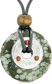 Large Celtic Triquetra Knot Amulet Lucky Coin Donut Charm Snowflake Obsidian Protection Pendant Necklace