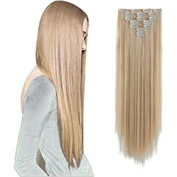 hair extensions Hair Extension Clip in Hair Extensions Hair Pieces Synthetic 22 Inch Straight clips for Hair Extensions for Women for girls Hair Extensions 18 inch curly wave Full Head