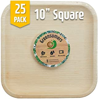 Greensumers Palm Leaf Plates 10 inch Square 25 PCS - Biodegradable & Compostable Plates - Reusable & Disposable Plates - Eco Friendly Plates better than Paper Plates or Wood Plates