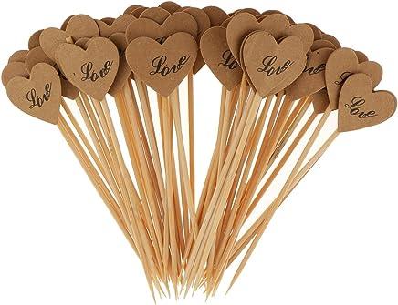 Sharplace 50pcs Cure-dent Décoratif Coeur Kraft Papier Topper de Gâteau Décoraiton Mariage Shabby Chic - Love
