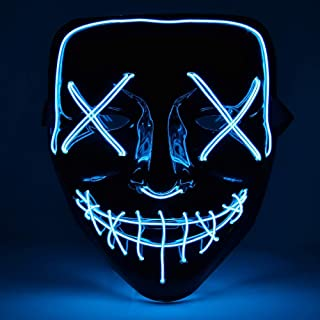 Halloween Mask LED Lights Flushing Mask for Festival Cosplay Halloween Costume Party Mask Without Battery-Blue