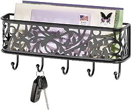 mDesign boite à clés avec surface de rangement – boite a cles murale polyvalente pour l'entrée, la cuisine ou le bureau – avec un range-courrier – en métal – noir mat