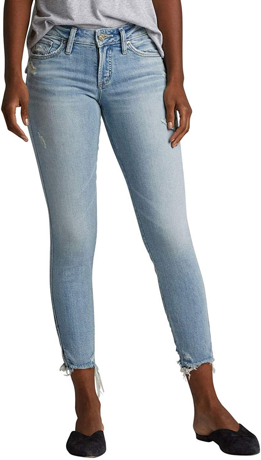 Silver Jeans Co. Womens Suki Curvy Fit Mid Rise Skinny Crop Jeans