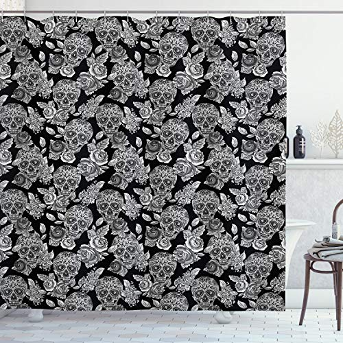 """Ambesonne Masquerade Shower Curtain, Gothic Folk Art Collection Skulls with Flowers Monochrome Muertos Tombstone, Cloth Fabric Bathroom Decor Set with Hooks, 70"""" Long, Black White"""