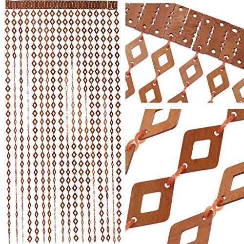 IK Style Cortina de Madera para Puerta con Cuentas de Madera, tamaño 90 x 200 cm, Hecho a Mano, Color Madera Natural, fácil de Instalar