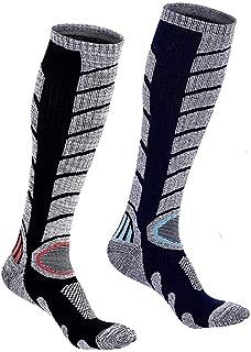 Mens Women Ski Cotton Socks High Performance Thick Warm Wicking Crew Socks for Snowboard Hiking Sports(Long, Black&Blue)