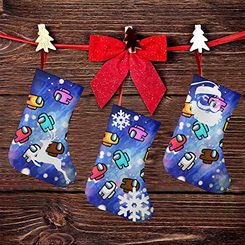 CaiziKou Crewmates Among Us Game Value Pack with 3 7.5 Inch Christmas Stockings, Christmasparty Decorations Children's Christmas Candy Bag…
