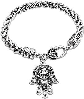 AILUOR Hamsa Hand of Fatima Silver Bracelet - Evil Eye Protection Silver Tone Alloy Charm Jewelry Lucky Success Pendant Friendship Handmade Bracelet Men Women