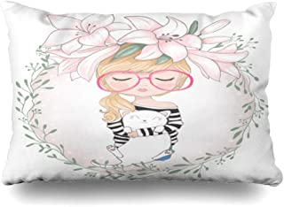 Ahawoso Throw Pillow Cover Queen 20x30 Inches Pink Cute Girl Flower Book Trendy Designbook Animals Wildlife Character Holiday People with Pretty Decorative Pillowcase Home Decor Cushion Pillow Case