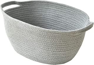 Inough Cotton Rope Storage Baskets with Handles Durable Large Storage Bins Home Organizer Solution for Office, Bedroom, Closet, Toys & Laundry ( Oval )