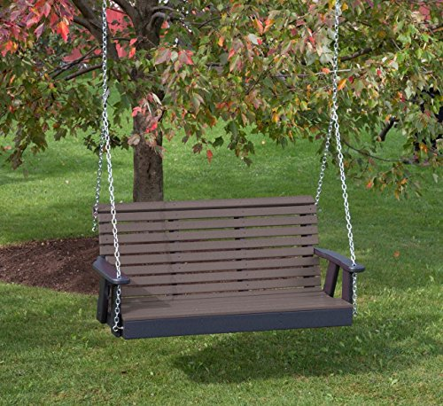 Ecommersify Inc 4FT-Weathered Wood-Poly Lumber ROLL Back Porch Swing Heavy Duty Everlasting PolyTuf HDPE - Made in USA - Amish Crafted