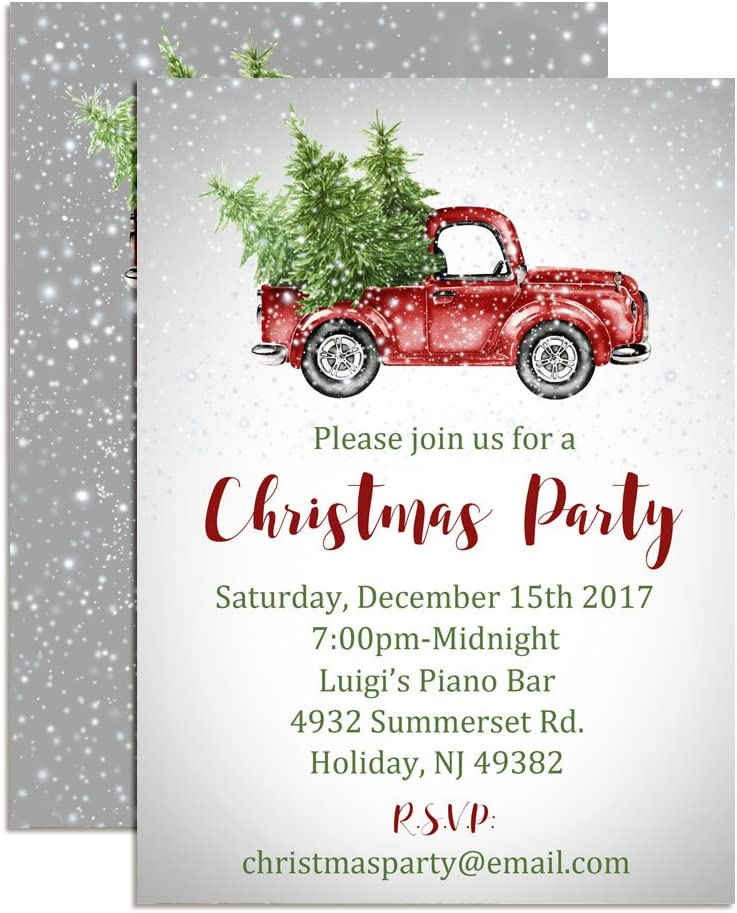 贈答 Snowy Christmas Truck Custom 日本最大級の品揃え Party Holiday Invita Personalized
