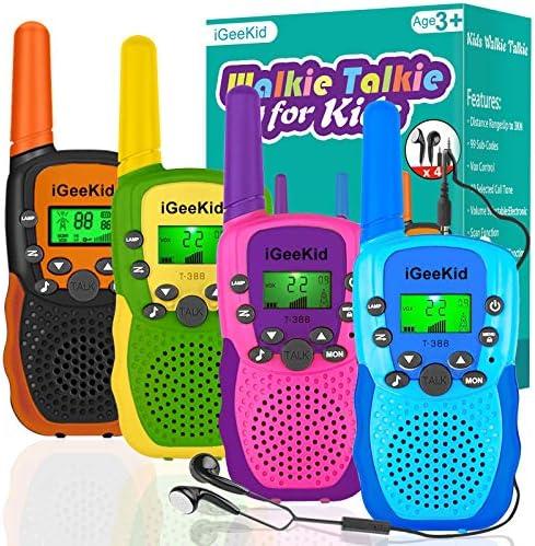 iGeeKid 4 Pack Walkie Talkies for Kids Long Range Kids Walkie Talkies with Earpiece 22 Channel product image