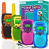 iGeeKid 4 Pack Kids Walkie Talkies with 4 Earpiece, Built-in Flashlight Long Range Walkie Talkies for Kids Toys 3-12 Age Boys Girls Toddler Student Back to School Travel Camping Accessory Outdoor Game