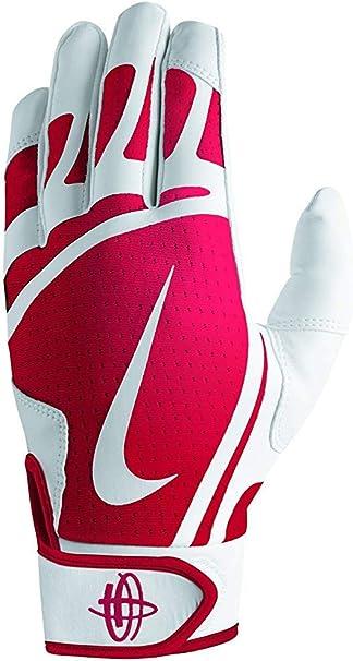Nike Men's Huarache Edge Batting Gloves White/University Red Size Medium