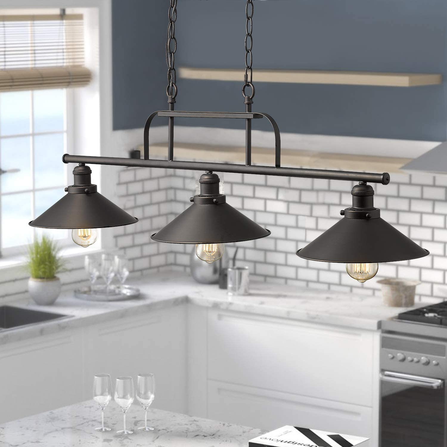 Buy Zeyu Industrial 3 Light Pendant Lighting Vintage Kitchen Island Light With Oil Rubbed Bronze Finish 102 3 Orb Online In Indonesia B07vbd5gq5