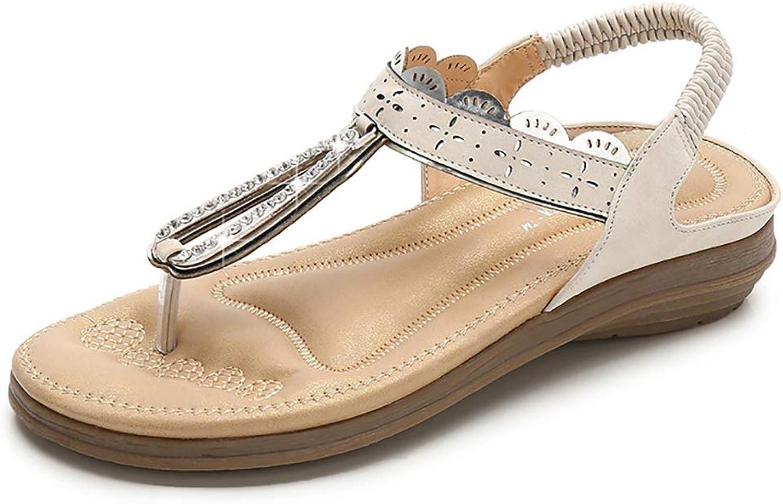 Womens T Strap Sandals Fashion Round Head Flat Bohemia Style Roman Clip Toe Flip Flop Comfortable Elastic Belt Casual Summer shoes